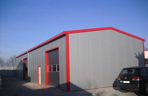 FFormI Systemhalle (Stahlhallen) liefern wir in den Breiten von 9 - 10 - 11 und 12 Meter